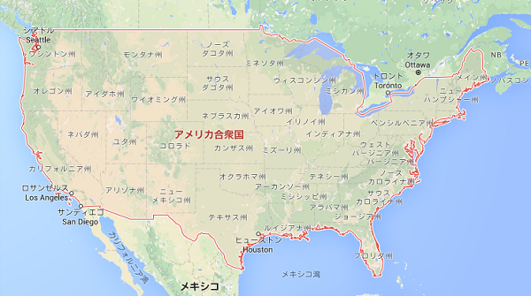 アメリカの地図