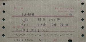 昔の指定券